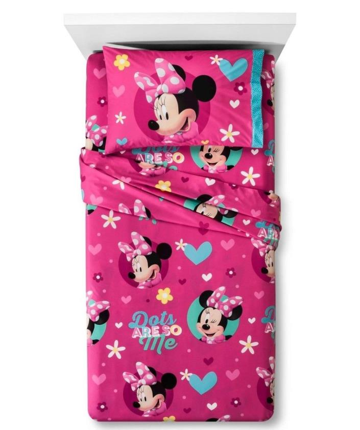 Disney Minnie Mouse 3 Piece Twin Sheet Set Microfiber Flannel Disney Junior