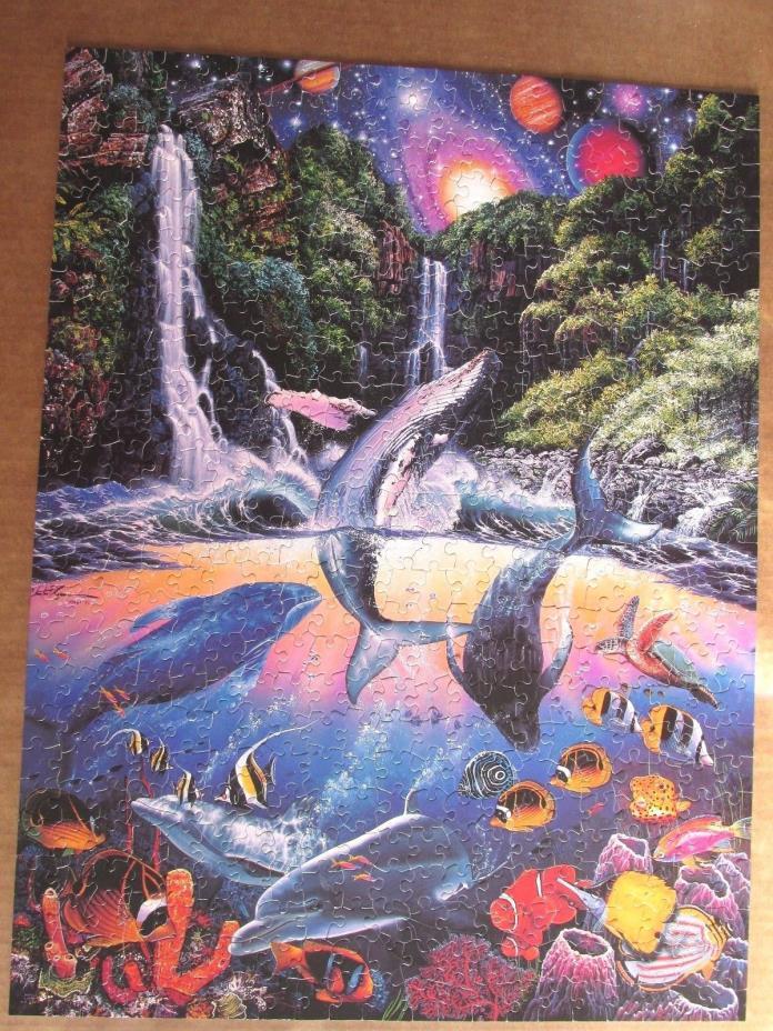 VINTAGE CHRISTIAN RIESE LASSEN SANCTUARY 550 PIECE JIGSAW PUZZLE DOLPHINS 1995