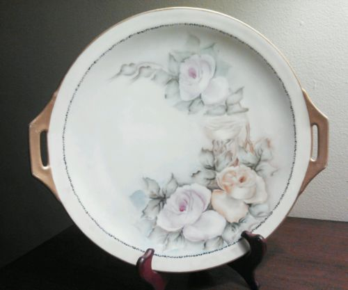 Marked Thomas Porcelain Co, Bavaria, Artist-Signed Hand-Painted Cake Plate