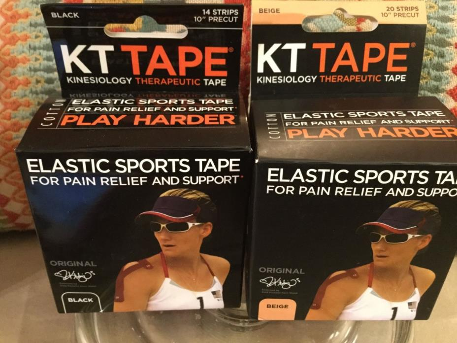 2-KT Tape Kinesiology Therapeutic Tape1- Beige, & 1- Black 20 Pre-Cut Strips