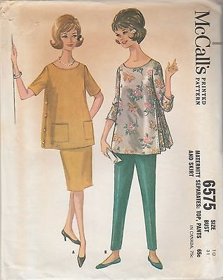 Vintage Sewing Pattern McCall's 6575 Maternity Top Pants Skirt 1962 Size 10
