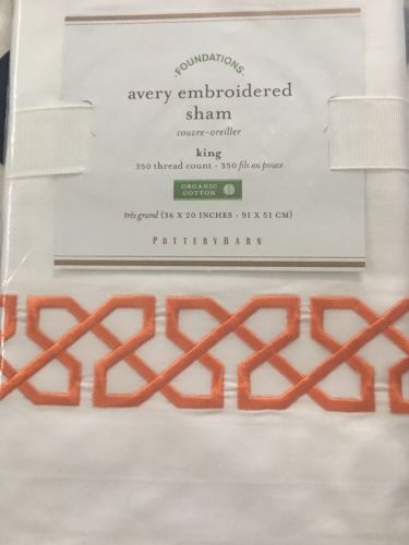 Pottery Barn Avery Embroidered Shams King White Orange
