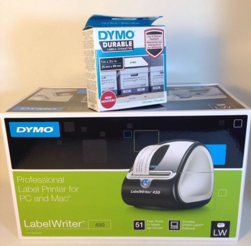 Dymo LabelWriter 450 High Speed Label Printer #1752264 + Box 100 Durable 1