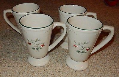 4 PFALTZGRAFF CHRISTMAS WINTERBERY PEDESTAL IRISH COFFEE MUGS .