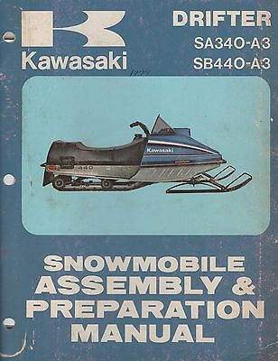 1979 KAWASAKI SNOWMOBILE DRIFTER SA340-A3 ASSEMBLY & PREPARATION MANUAL (884)