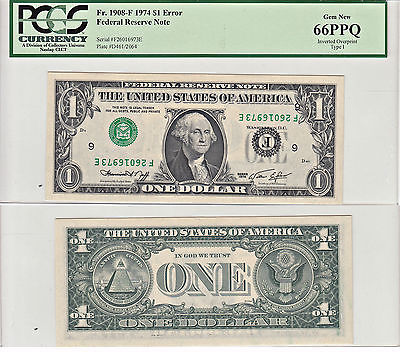 1974 $1 Inverted Overprint Type I Error Note F-1908-F PCGS Gem New-66 PPQ