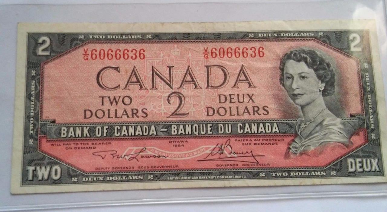 1954 Canadian $2 Bill Bank of Canada