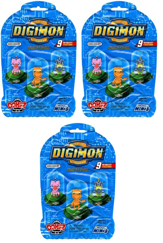 3x DIGIMON DOMEZ MYSTERY PACK COLLECTIBLE MINI FIGURE BLIND BAG SEALED NEW