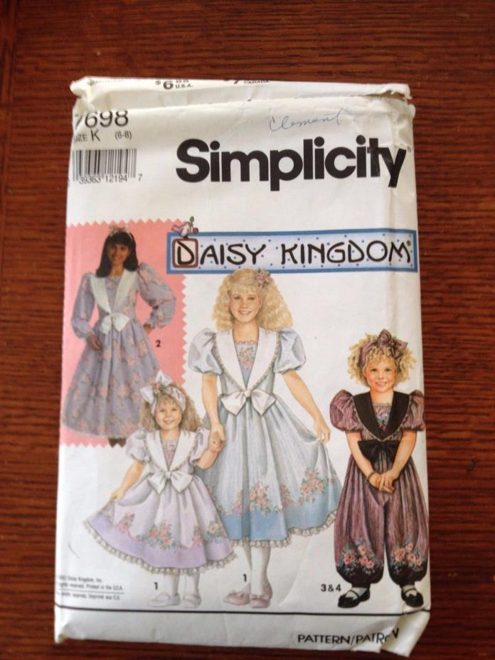 Simplicity Girls Dress Pattern 7698 Daisy Kingdom Size K (6-8) Vintage
