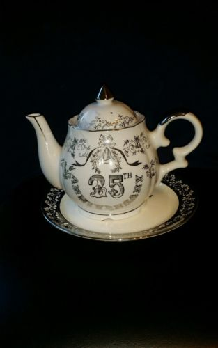 Vintage Lefton China Music Box Teapot - 25th Anniversary - White & Platinum