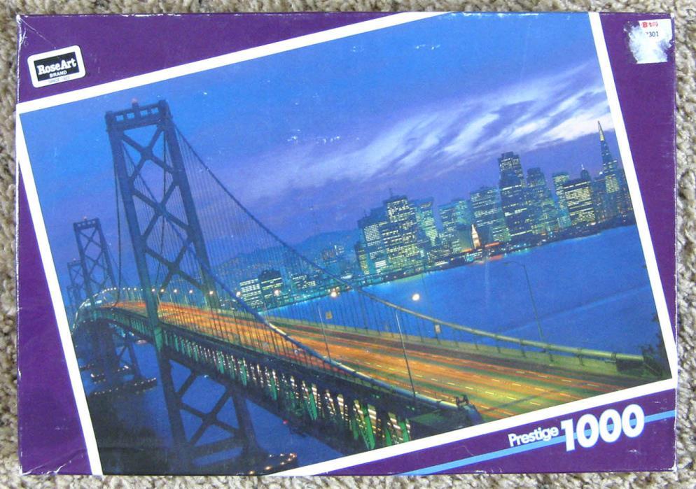 1996 Rose Art Prestige 1000 Piece Jigsaw Puzzle Bay Bridge Warren Complete