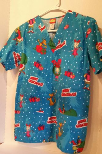 Scrub Top Dr Suess Merry Christmas  XS Extra Small  The Grinch Mary Lou Who