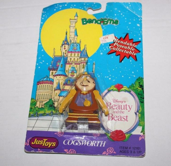 Walt Disney Beauty and the Beast Bendems Cogsworth Clock JustToys Brand New NOS