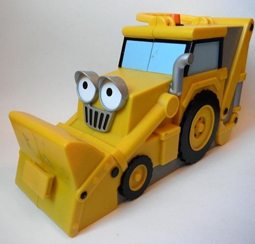 SCOOP Yellow Bulldozer Construction Vehicle Toy Car Carry Case Bob the Builder