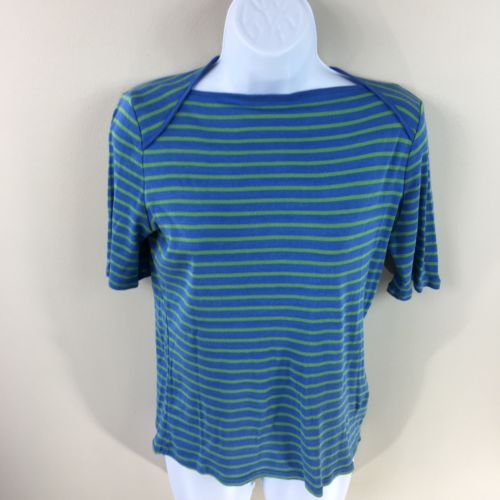 Talbot's Women's Small Blue Green Striped Cotton Short Sleeve Boat Neck Top