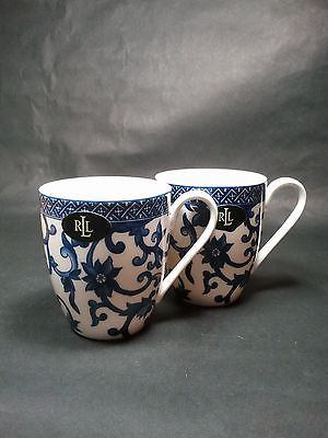 Ralph Lauren Mandarin Blue Mugs Coffee Cups Set of 2 NWT
