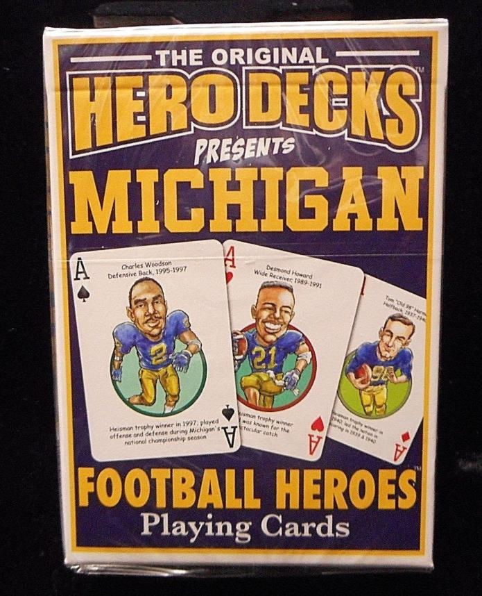 NEW University of Michigan Football Heroes Playing Cards