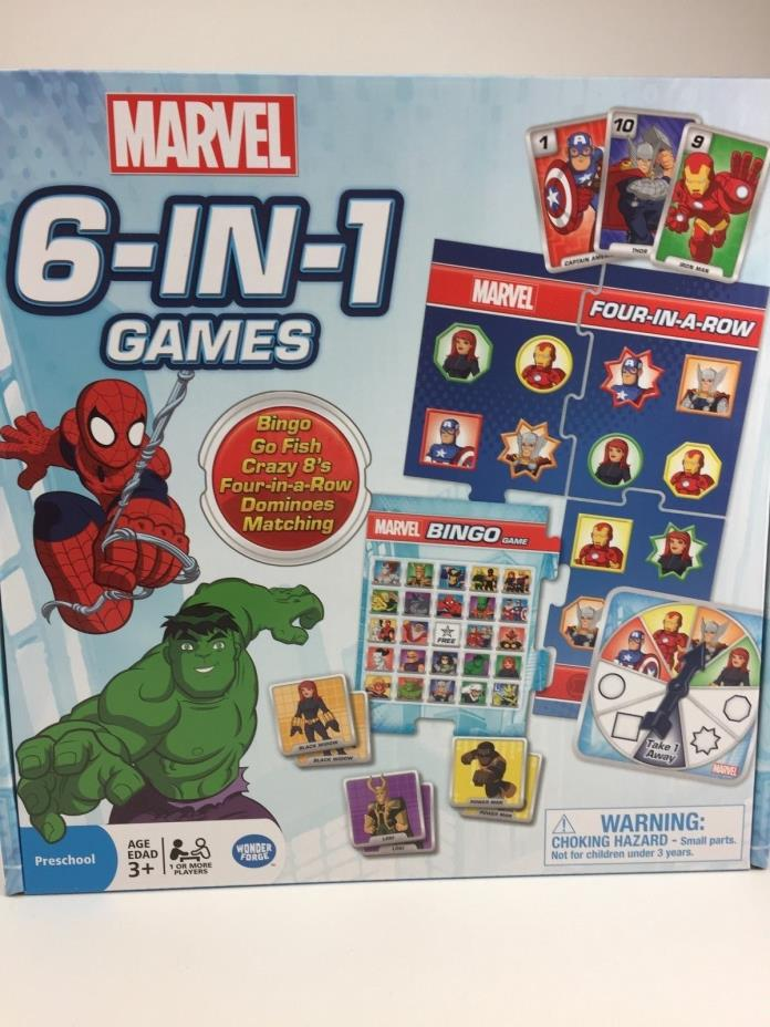 BRAND NEW NEVER OPENED MARVEL 6-IN-1 GAMES 3+ BINGO GO FISH MATCHING CRAZY 8s
