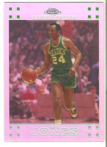 Sam Jones Topps Chorme 07-08 #56 Refractor #'d Boston Celtics 10X NBA Champion