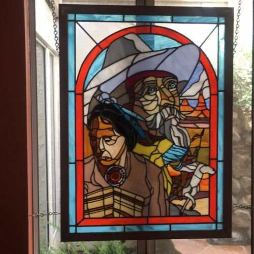 Gorgeous Framed Leaded Glass     Western Theme      LOCAL PICKUP  ONLY