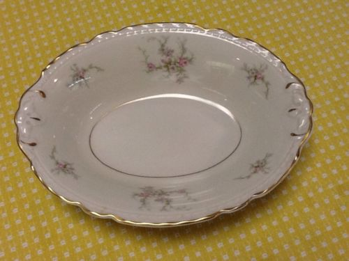 Old Rose Arcadian Fine China Oval Serving Bowl Made In Newark, New York