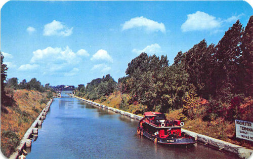 Albany to Buffalo NY NY State Barge Canal Rochester Terminal Postcard