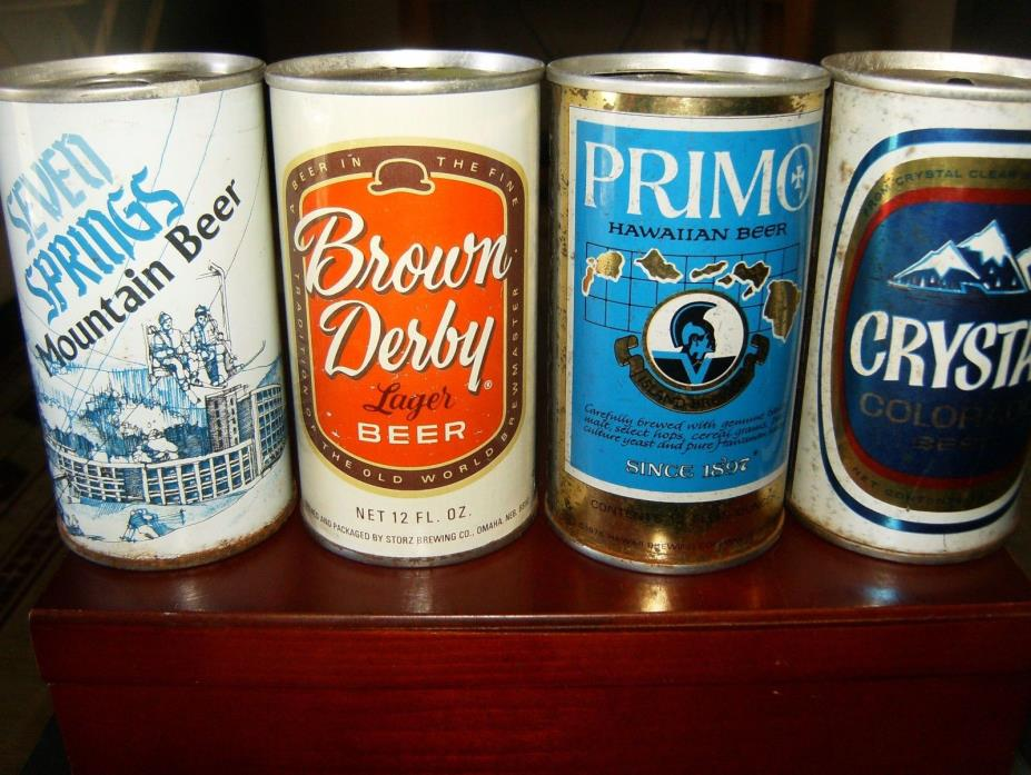 4 VINTAGE 12 OZ STRAIGHT STEEL BEER CANS:SEVEN SPRING BROWN DERBY PRIMO CRYSTAL