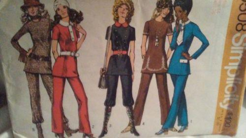 Vintage Simplicity 9508 MOD Misses Tunic & Pants Pattern sz 14 Uncut GROOVY