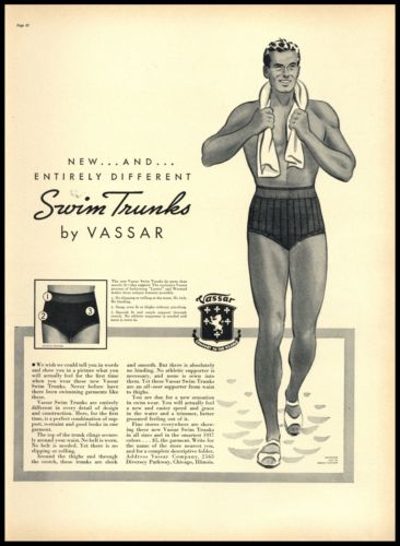 1937 Mens Swim Trunks Art Original Vassar Company Chicago AD