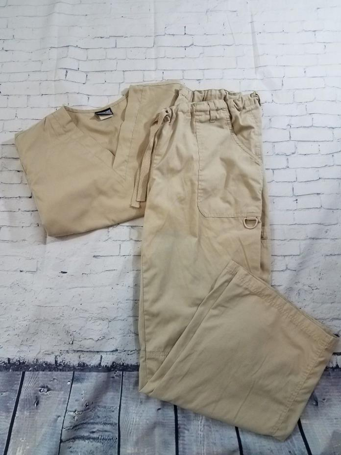 Cherokee Workwear Beige Scrub Uniform Set Top & Bottom