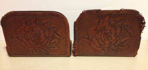 Vintage Pair LEATHER ROSE Tooled FLOWER Hand Crafted BOOKENDS