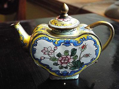 Antique HEART SHAPE FLORAL Enamel BRASS CLOISONNE ENAMEL Mini Teapot Vintage