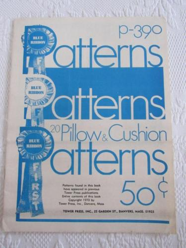 Vtg 1970 Blue Ribbon Patterns P-390 Tower Press 20 PILLOW & CUSHION Crochet Sew