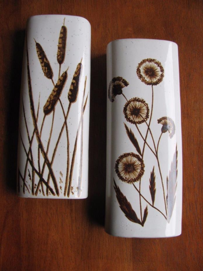 Vintage Speckled Brown Cat Tails Dandy Lions Pottery WALL POCKET VASE LOT 2
