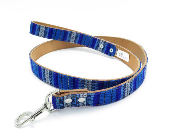 Guatemalan Leather Dog Leash - Blue Multi - Size Large