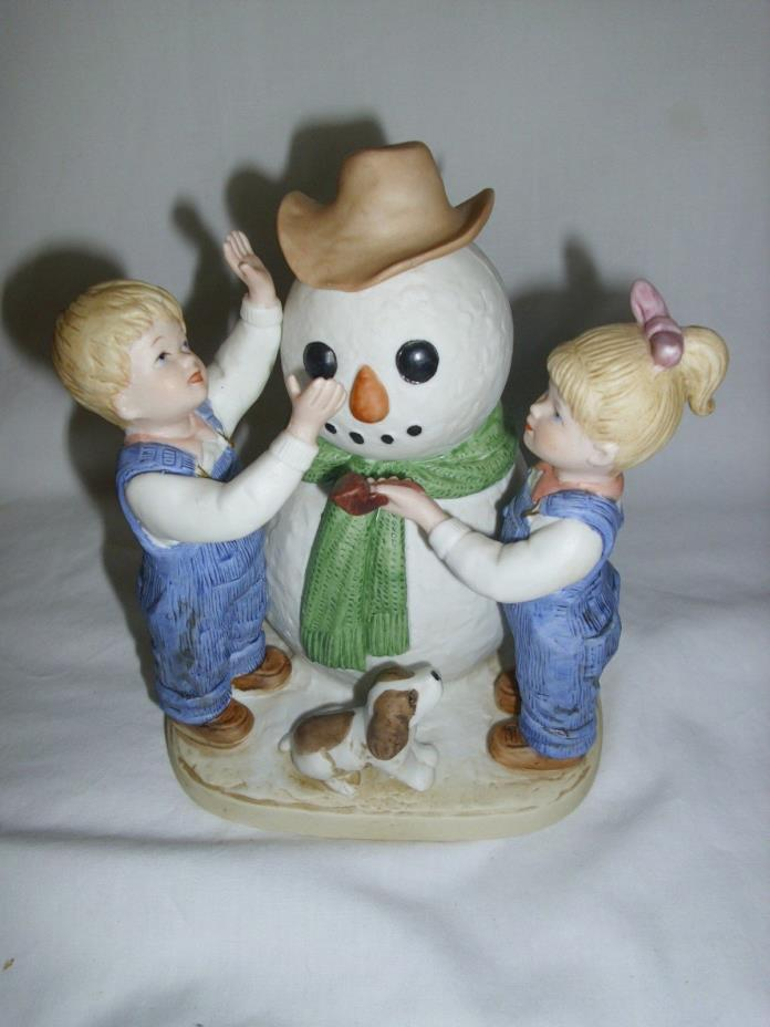 Vintage Christmas Homco Denim Days Making A Snowman #1508