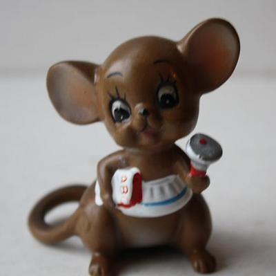 JOSEF ORIGINALS TEACHER MOUSE-MICE WITH BELL-BOOK VINTAGE CERAMIC FIGURINE