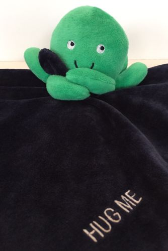 Carters Hug Me Green Octopus Navy Blue Plush Lovey Security Blanket Baby Rattle