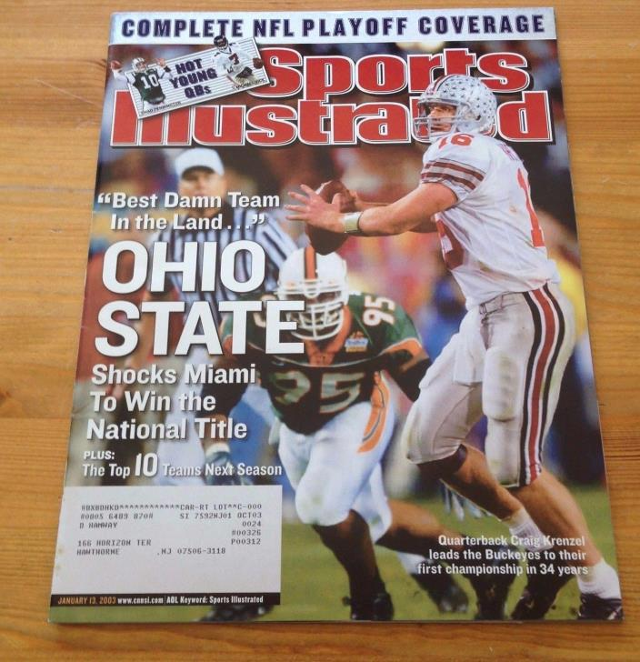 JANUARY 13 2003  SPORTS ILLUSTRATED COLLEGE  OHIO STATE CRAIG KRENZEL