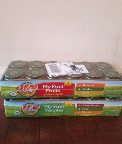 earths best organic stage 1 food 2 case bundle (1 fruit +1 veggie case 24 jars)