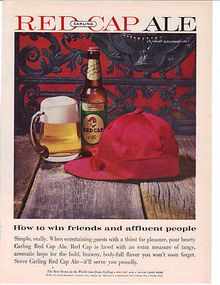 1960 CLASSIC CARLING RED CAP ALE AD