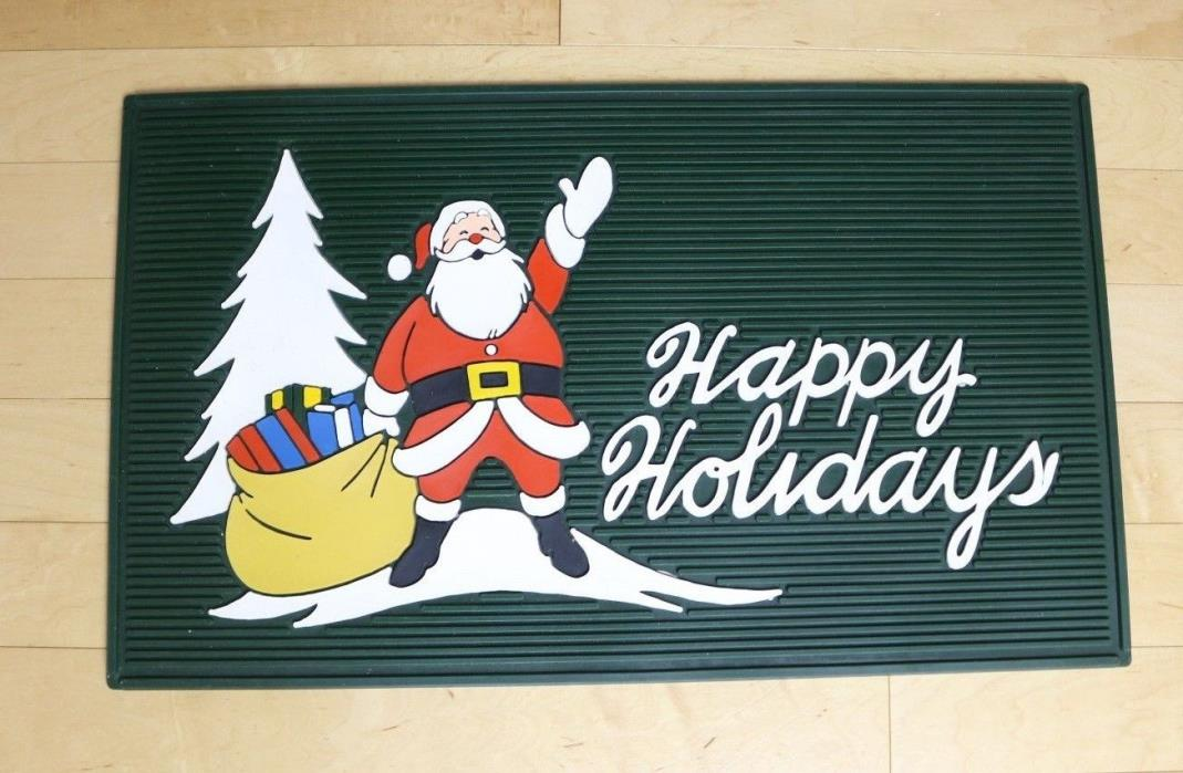 Vintage Christmas Santa Clause Door Mat Rubber USA 24x14 Happy Holidays Doormat