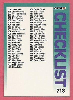 1992 Fleer Checklist Card #718 #398-494 MLB NM-MT