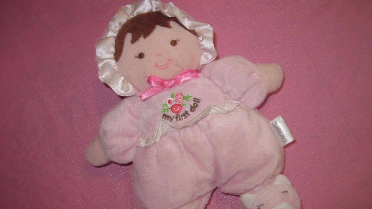 Carter's  My First Doll Baby PINK Rattle Plush Lovey Brown Hair