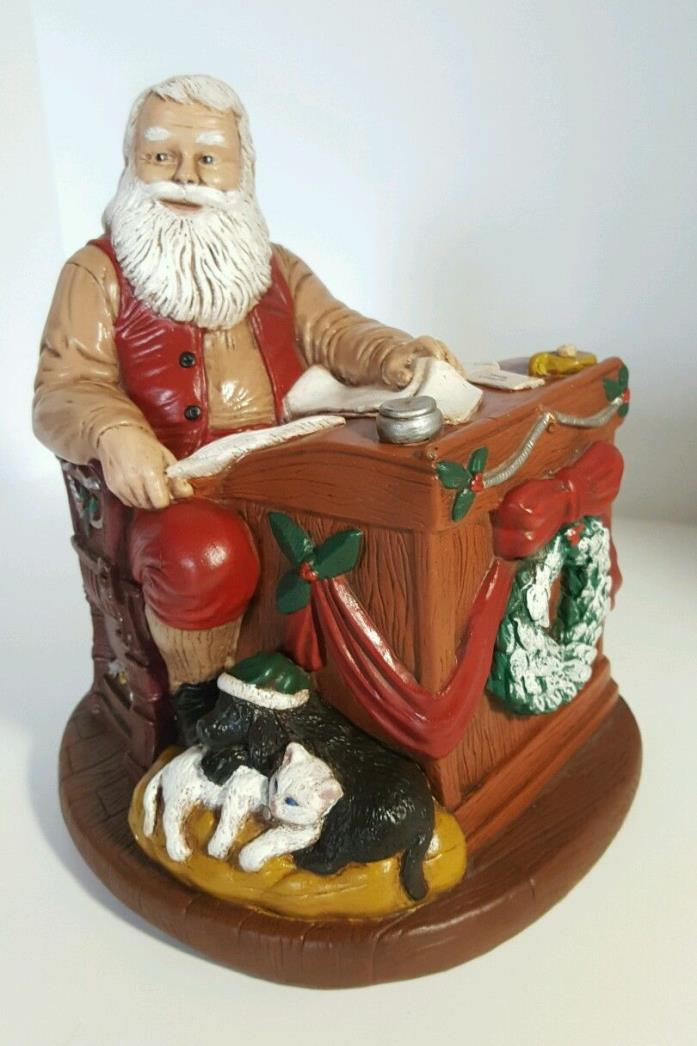 SANTA NORTH POLE with Pets Reading Letters Lists Figurine Christmas Decorations