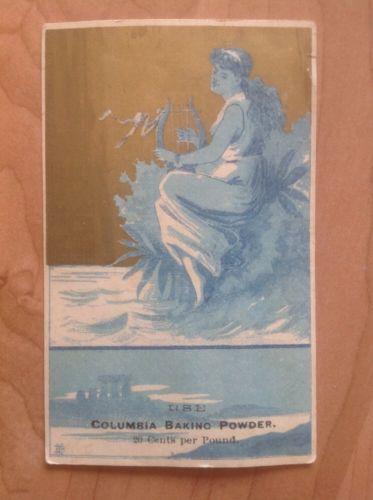 Vintage Columbia Baking Powder Card See Pics