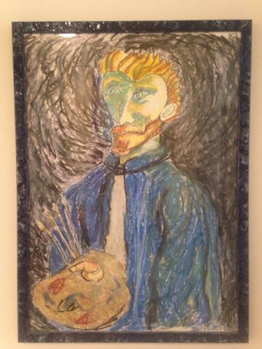 Wonderful Vintage Original Pastel Painting Of Van Gogh Nicely Framed