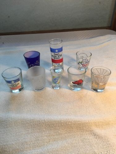 LOT OF 7 Different Shot Glasses, 1 Double Shot Glass.