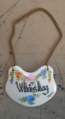 Vintage French Porcelain Hand Painted Whisky Decanter Label Bottle Tag Hanger