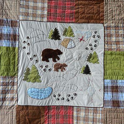 Woolrich Kids Big Bear Camp Plaid Patchwork Quilt Twin Comforter 60x85 Cabin Map